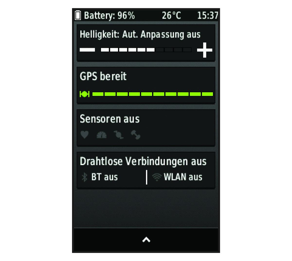 Edge 1000 - Anzeigen der Statusseite von Sensoren und Verbindungen