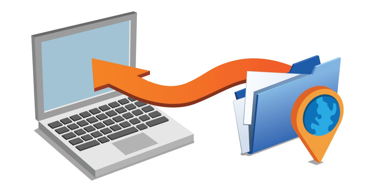 File icon with an arrow pointing towards a laptop